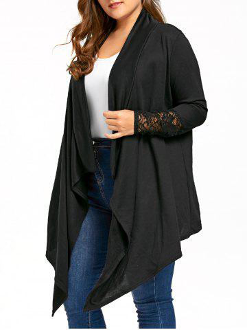 Affordable Plus Size Sheer Lace Trim Drape Cardigan