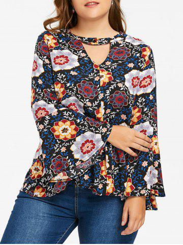 Latest Plus Size Bell Sleeve Keyhole Floral Blouse