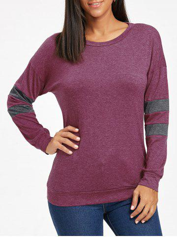 Chic Drop Shoulder Color Block Sweatshirt