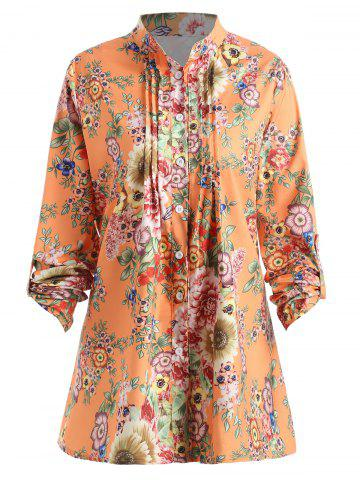 Trendy Plus Size Pleated Floral Print Blouse
