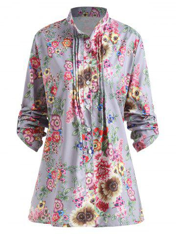 Affordable Plus Size Pleated Floral Print Blouse