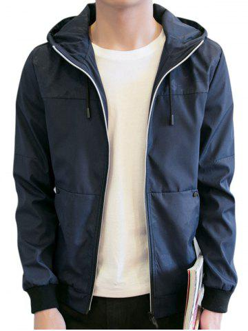 Trendy Zipper Up Drawstring Hooded Track Jacket