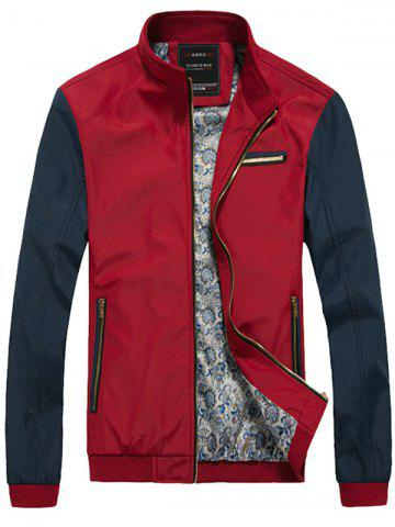 Two Tone Zip Up Casual Jacket