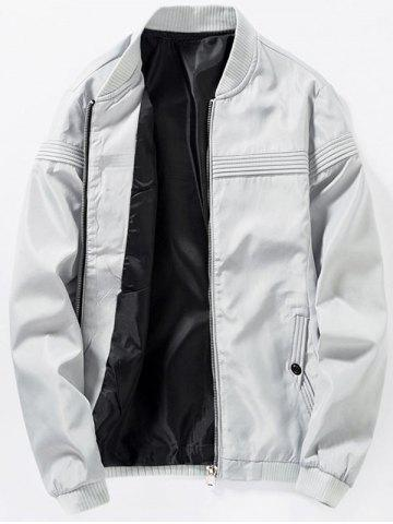 Store Zip Up Stand Collar Casual Bomber Jacket