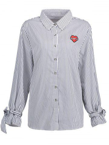Buy Bowknot Plus Size  Vertical Stripe Shirt