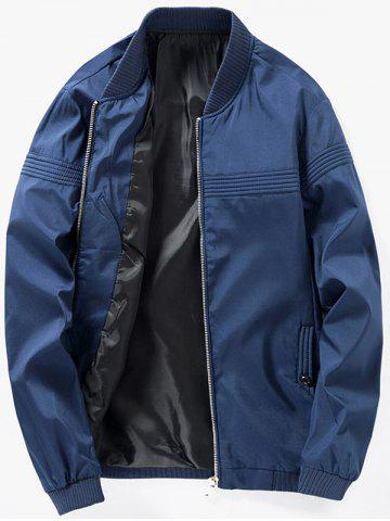 Zip Up Stand Collar Casual Bomber Jacket