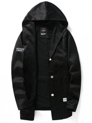 Zip Pocket Button Up Hooded Jacket