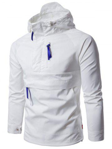 Kangaroo Pocket Half Zip Ribbon Hooded Jacket