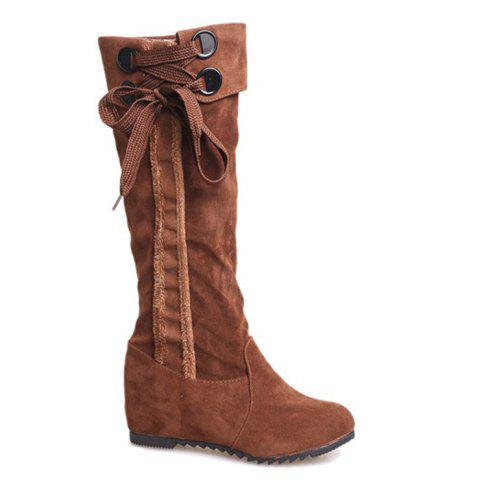 Fancy Flat Heel Lace Up Mid Calf Boots