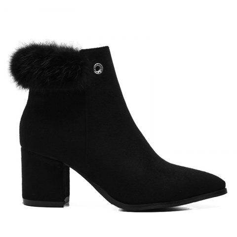 New Chunky Heel Fur Embellished Pointed Toe Boots