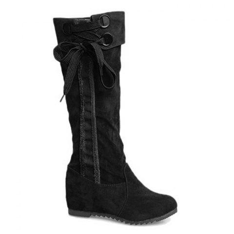 Cheap Flat Heel Lace Up Mid Calf Boots