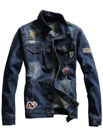 New Chest Pocket Distressed Patched Denim Jacket