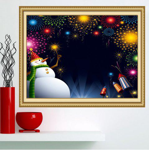 Fancy Christmas Snowman Fireworks Patterned Wall Art Painting