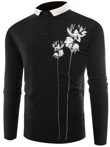 Chic Lotus Print Buttons Polo T-shirt