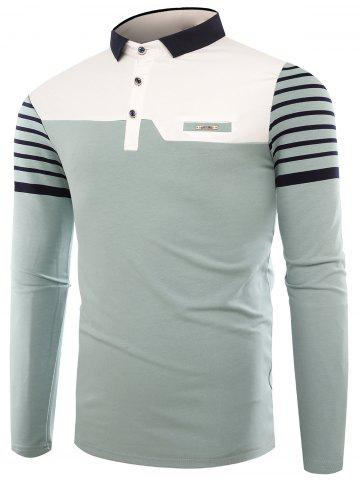 Unique Buttons Color Block Stripe Polo T-shirt