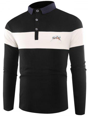 Affordable Buttons Color Block Embroidered Polo T-shirt