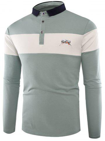 Unique Buttons Color Block Embroidered Polo T-shirt