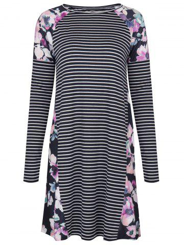 Unique Raglan Sleeve Striped Floral T Shirt Dress
