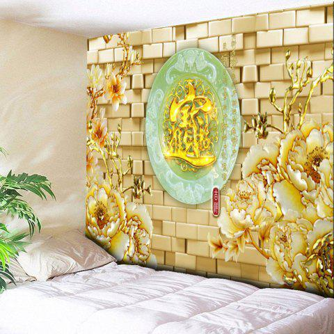 Trendy Flower Oval Jade Plate Print Wall Tapestry