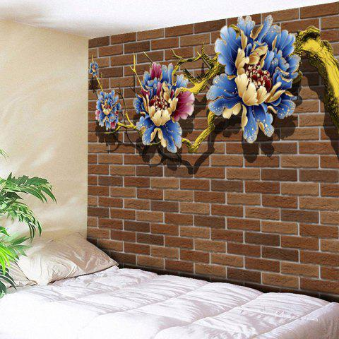 Trendy Floral Print Brick Wall Tapestry