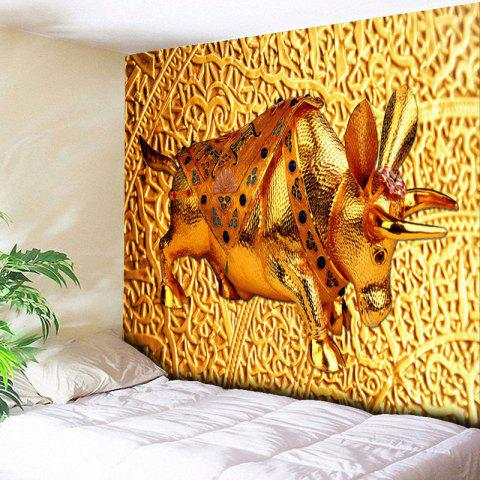 Trendy Wall Hanging Golden Cow Printed Tapestry
