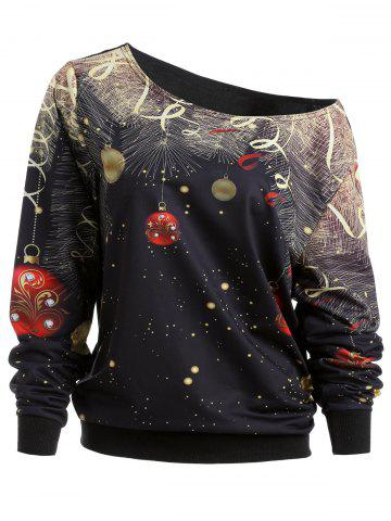 Shop Christmas Bell Print Skew Neck Sweatshirt