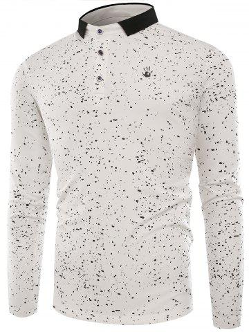 Sale Splatter Paint Print Long Sleeve Polo T-shirt