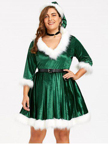 Plus Size Faux Fur Panel Velvet Christmas Party Dress with Hat