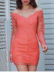 Sheer Long Sleeve Mini Lace Dress -