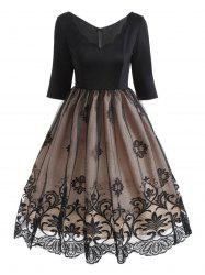 V Neck Floral Lace Panel Vintage Dress -