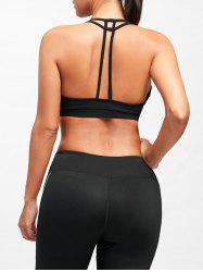 T-Back  Padded Cutout Yoga Bra - BLACK L