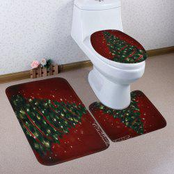 Christmas Pine Tree Pattern 3 Pcs Bath Mat Toilet Mat -