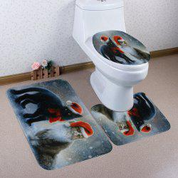 Christmas Cats Pattern 3 Pcs Bath Mat Toilet Mat -