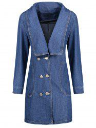 Plus Size Double Breast Long Denim Coat -