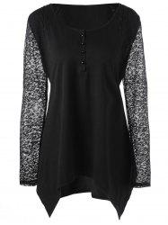 Plus Size Lace Trim Henley Top -