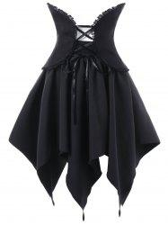 Halloween Lace Up Handerchief Skirt with Corset Cummerbund -