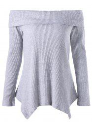 Off The Shoulder Manches longues Irregular Tricots - Gris 2XL