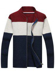 Stand Collar Zip Up Striped Sweater - PURPLISH BLUE L