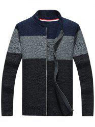 Stand Collar Zip Up Striped Sweater - DEEP GRAY L