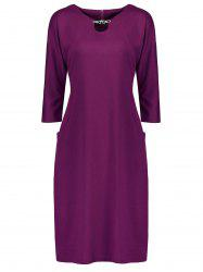 Plus Size Fitted Midi Dress with Pockets - PURPLE 6XL