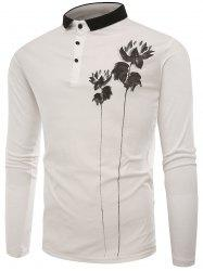 Lotus Print Buttons Polo T-shirt -