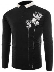 Lotus Print Buttons Polo T-shirt - BLACK 2XL