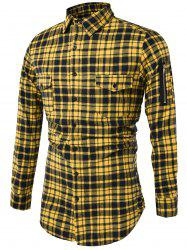 Tartan Longline Cargo Shirt - YELLOW XL