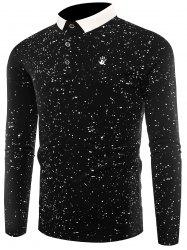 Splatter Paint Print Long Sleeve Polo T-shirt - BLACK 3XL