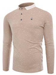 Splatter Paint Print Long Sleeve Polo T-shirt - APRICOT 3XL
