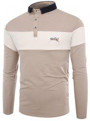 Buttons Color Block Embroidered Polo T-shirt - APRICOT 3XL