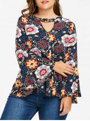 Plus Size Bell Sleeve Keyhole Floral Blouse - COLORMIX 3XL