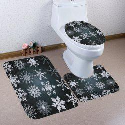 Christmas Snowflake Pattern 3 Pcs Bath Mat Toilet Mat -