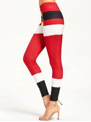 Color Lump Tight Christmas Leggings - RED L