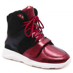 Contrasting Color Short Boots - RED 35/5.5